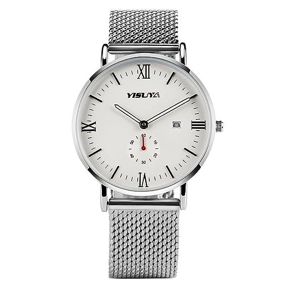 YISUYA Simple para hombre relojes quartz-watch banda de malla de acero inoxidable plata relojes FECHA analógica pantalla deportes regalos de Navidad: ...