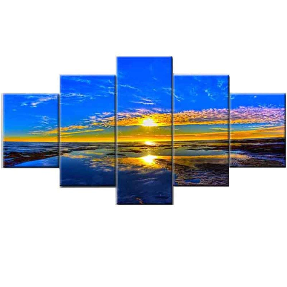 C 55100cm BBG @ Landscape Beach Decorative Painting,Painting Frameless Painting Canvas Painting Core 5 Pieces Decorative Painting Living Room Bedroom Office Sofa Background A   55  100cm