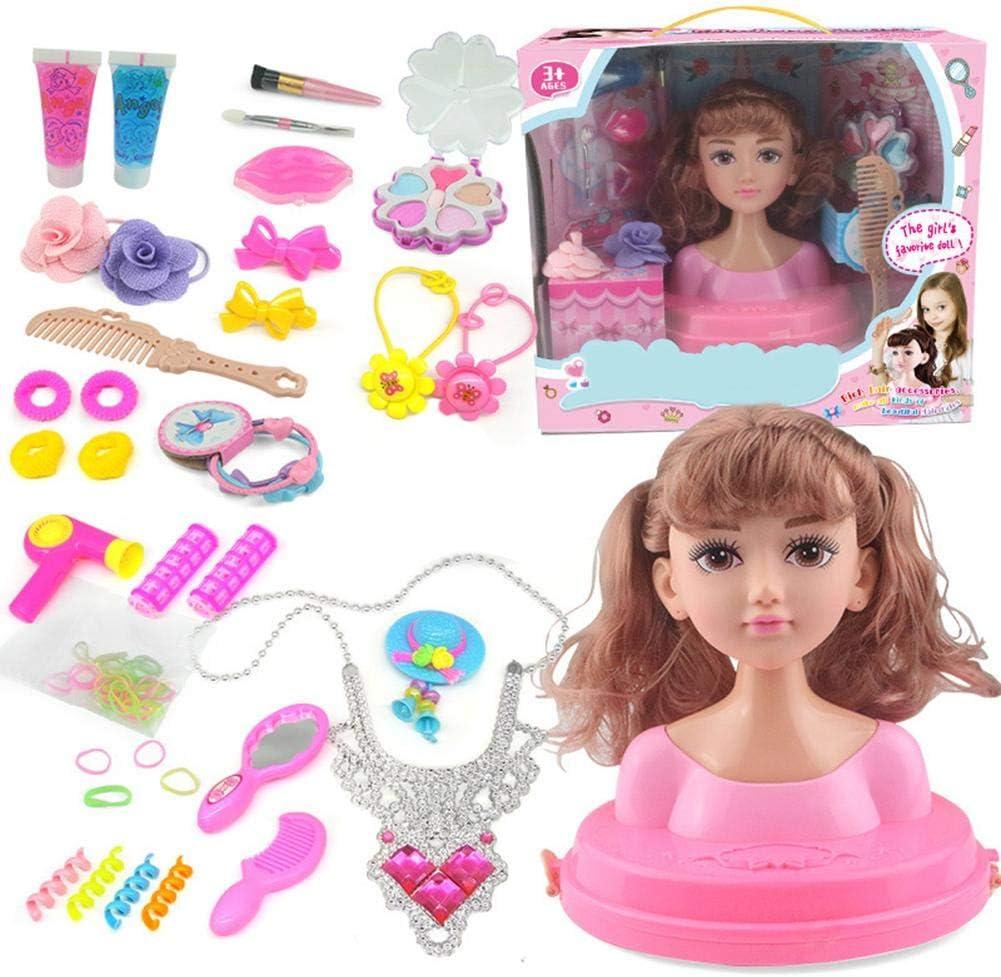 yummyfood Juego De Muñecas De Maquillaje, Princesa Styling Head Doll Playset con Accesorios De Belleza Y Moda Vestir Muñecas De Simulación De Maquillaje Play House Toys para Niñas