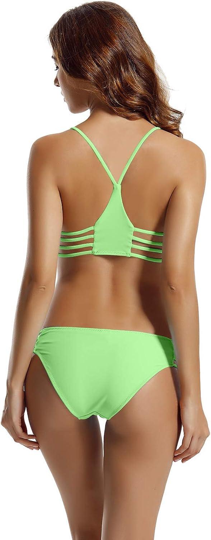 FBA zeraca Womens Strap Side Bottom Halter Racerback Bikini Bathing Suits