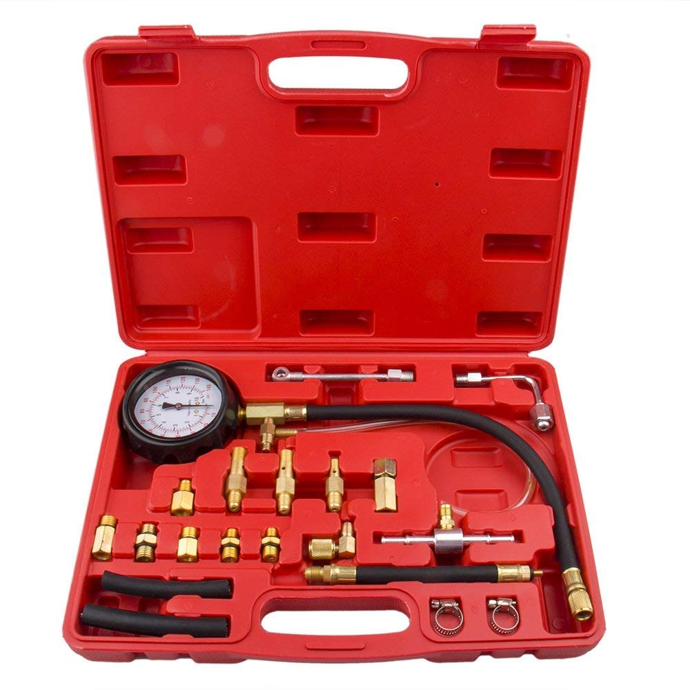Bang4buck 20 Pcs 0-140 PSI Universal Fuel Injector Pressure Test Kit for Trucks, Cars, ATVs