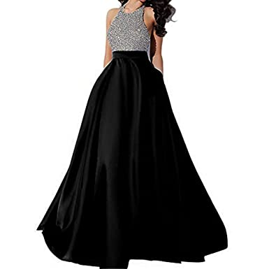 c6786177f87 Callmelady Prom Dresses 2019 Long High Neck Evening Gowns for Women Beading  with Pockets (Black
