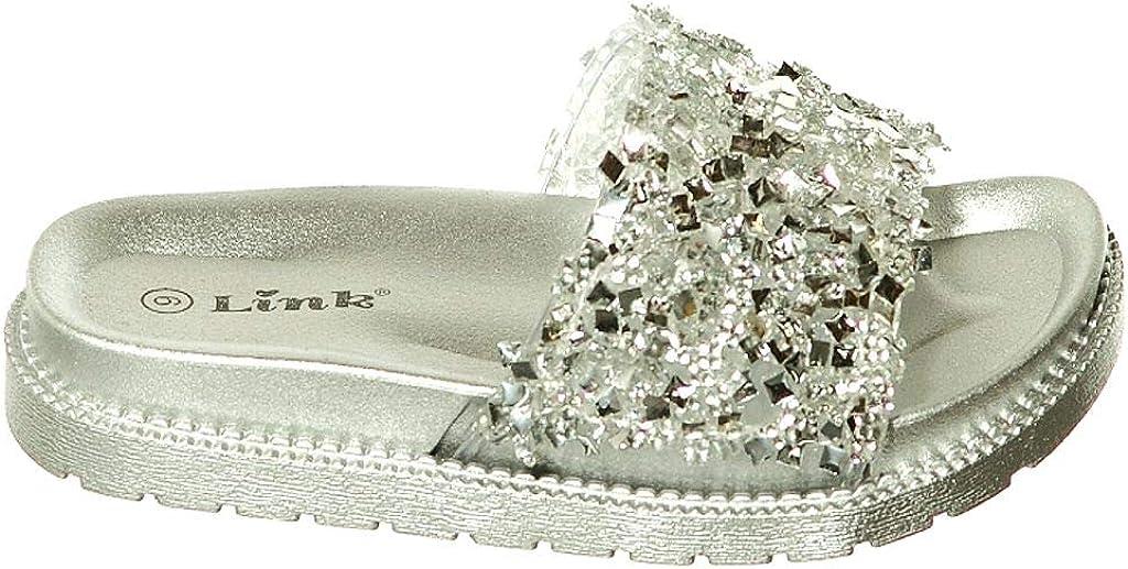 shoewhatever Girls Flat Soft Slip-On Sandals with Rhinestone Embellishment