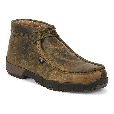 Amazon.com | Justin Mens Dark Brown Leather Work Boots Steel Toe ...