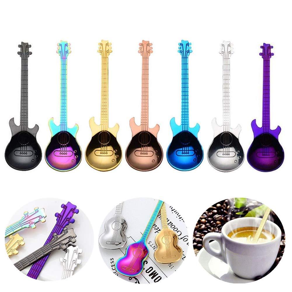 Cucharas de café musicales de acero inoxidable coloridas para guitarra, cuchara de café, utensilio de cocina para mezclar batidos, té, postres y bebidas