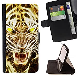 Lion Roar Tiger Fire Art Light Yellow - Painting Art Smile Face Style Design PU Leather Flip Stand Case Cover FOR Sony Xperia Z1 Compact D5503 @ The Smurfs