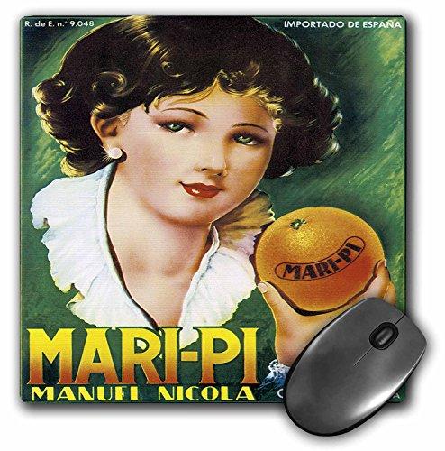 - 3dRose BLN Vintage Fruit and Vegetable Crate Labels - Vintage Mari-Pi Manuel Nicola Imported Oranges Crate Label - MousePad (mp_129866_1)