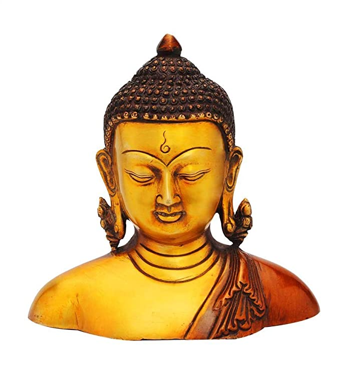 "StatueStudio Bronze Brass Vintage Handcrafted Buddha Statue for Home Decor, Office, Table, Living Room, Corporate Gift Ideal Sculpture Meditation Idol Figurine Blessing Showpiece 6"" Idols & Figu at amazon"