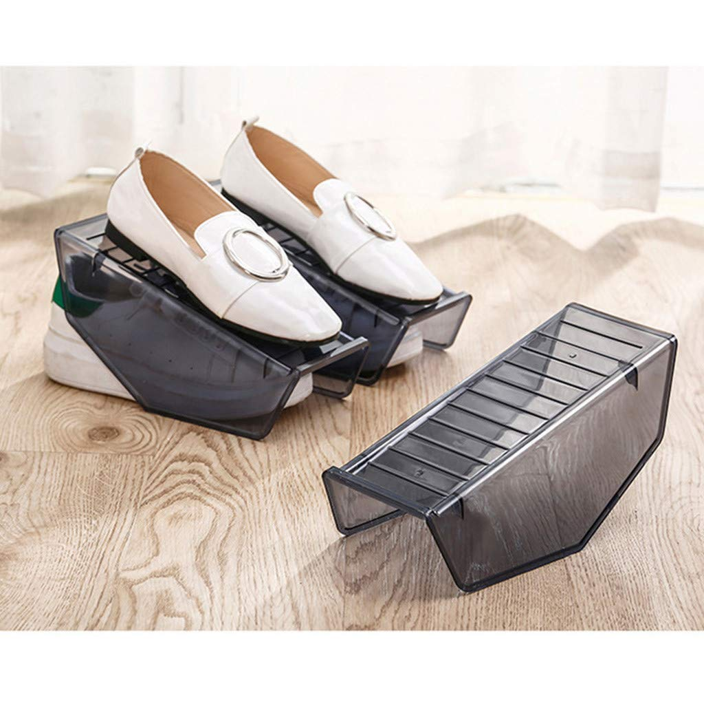 Shoes Organizer, Simply Clear Plastic Non-Slip Display Rack Shoes Organizer Space-Saving Plastic Rack Storage (L:25.5x9.5x10cm)
