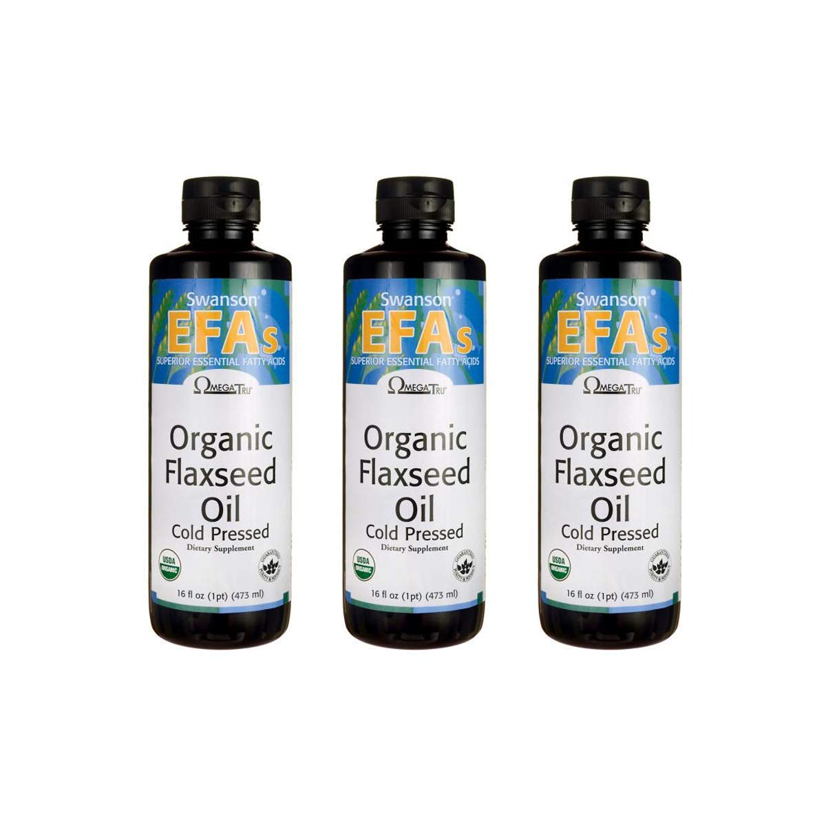 Swanson Flaxseed Oil (Omegatru) 14 g 16 fl oz Liquid 3 Pack by Swanson
