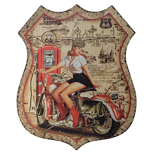 Muestra de la Lata Placa Cartel Moto Pin-up gasolinera Route 66 Estilo Antiguo
