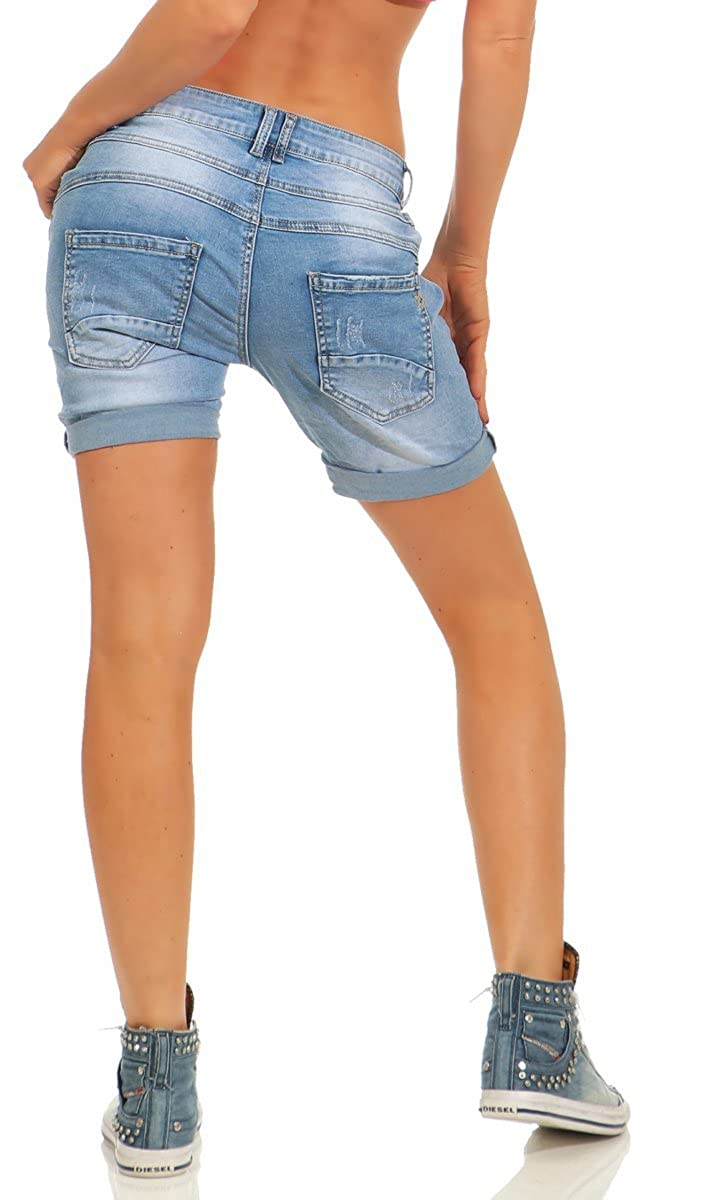 Fashion4Young 11521 Damen Jeans Bermuda Hose Boyfriend Denim Shorts Destroyed Slimline Knopfleiste Slim Fit