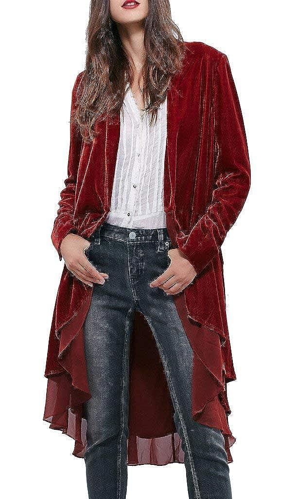 Beebeauty Women Ruffled Asymmetric Long Velvet Blazers Coat Casual Jackets