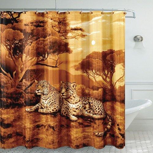 Cheetah Bathroom Accessories - Daniel's Bath Fancy Bath Room Shower Curtain, Cheetah