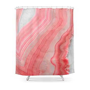Society6 Coral Pink Agate Shower Curtain 71quot