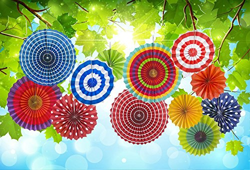 Lacheln Fiesta Paper Fan Hanging Party Decorations for Kids Birthday Carnival Wedding Decor,12 Pcs