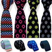 Xiessi Mens Colorful Knit Skinny Cotton Tie Lagre Pattern Dots Womens Neckties