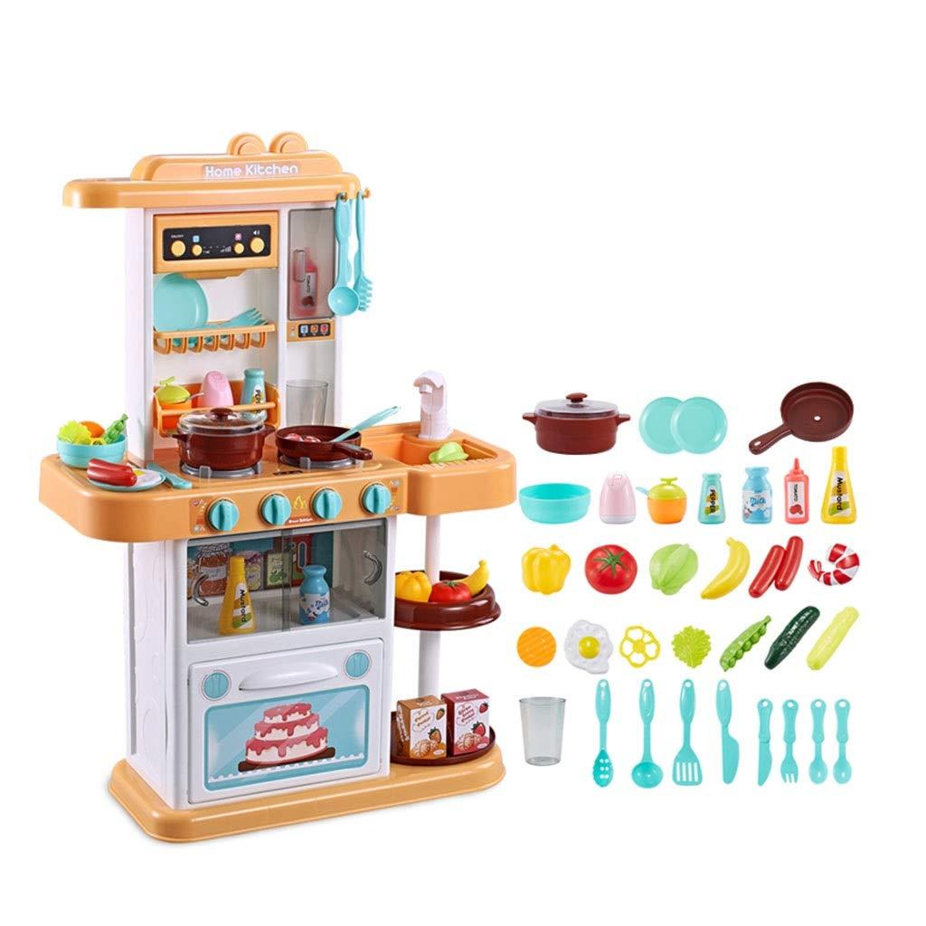 調理器具食器 キッチン玩具 プラスチック製のキッチンプレイセット パズルキッズキッチン用品セット リアルタップ 音楽 32アクセサリー ギフト (Color : Yellow, Size : 48*20*74cm) 48*20*74cm Yellow B07P4DJLKG