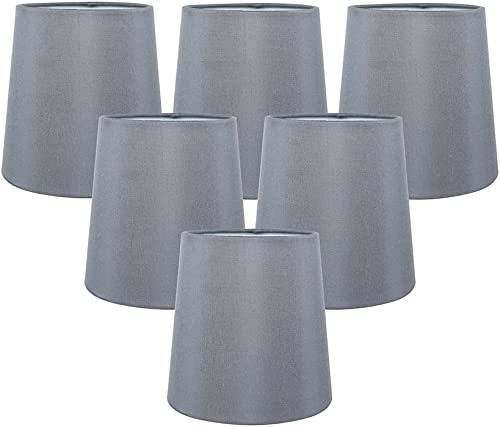 Meriville Set of 6 Gray Faux Silk Clip On Chandelier Lamp Shades, 4-inch by 5-inch by 5-inch