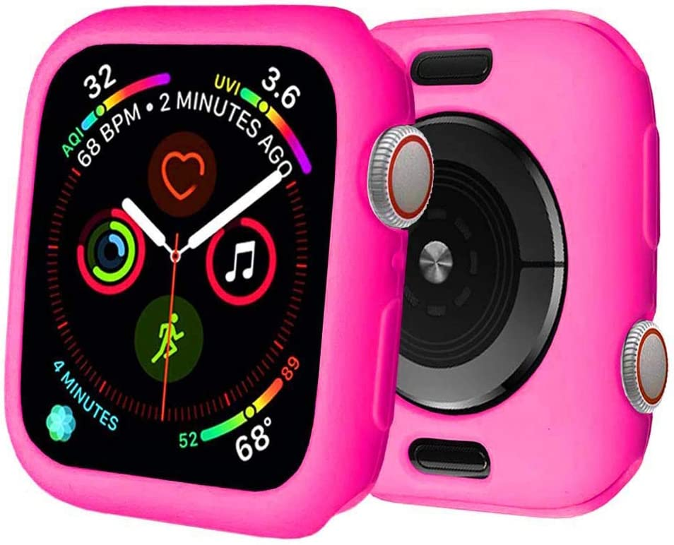 BOTOMALL for Apple Watch Case 42mm Series 3/2 Premium Soft Flexible TPU Thin Lightweight Protective Bumper Cover Protector for iWatch(Barbie Pink,42MM Series 3/2)