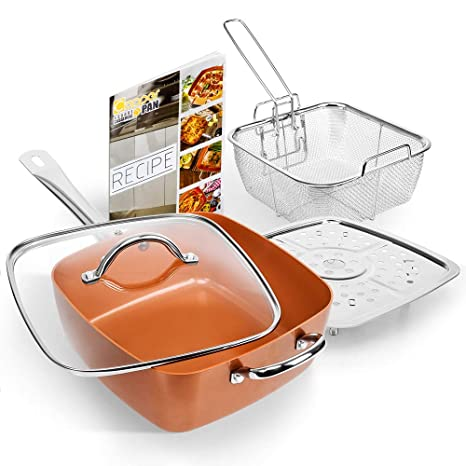 Home, Furniture & Diy Large Deep Sided Non-stick Copper 24cm Square Pan Kit Glass Lid Oven Safe 5pc Easy To Use
