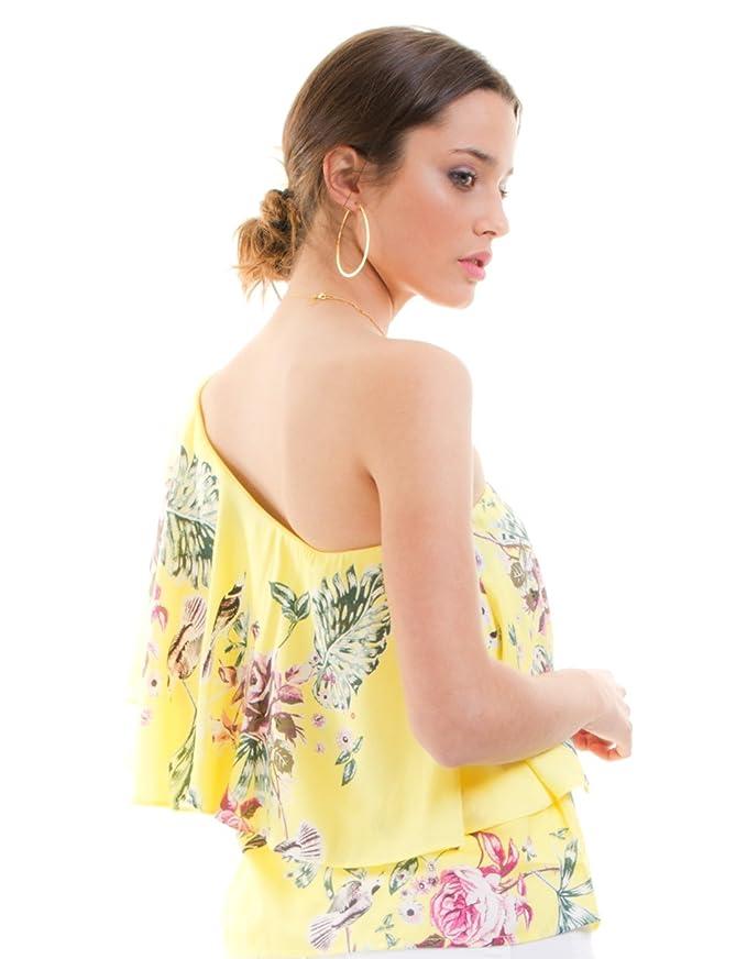 Vila Blusa Amarilla Flores con Volante Vitetri de Clothes: Amazon.es: Ropa y accesorios