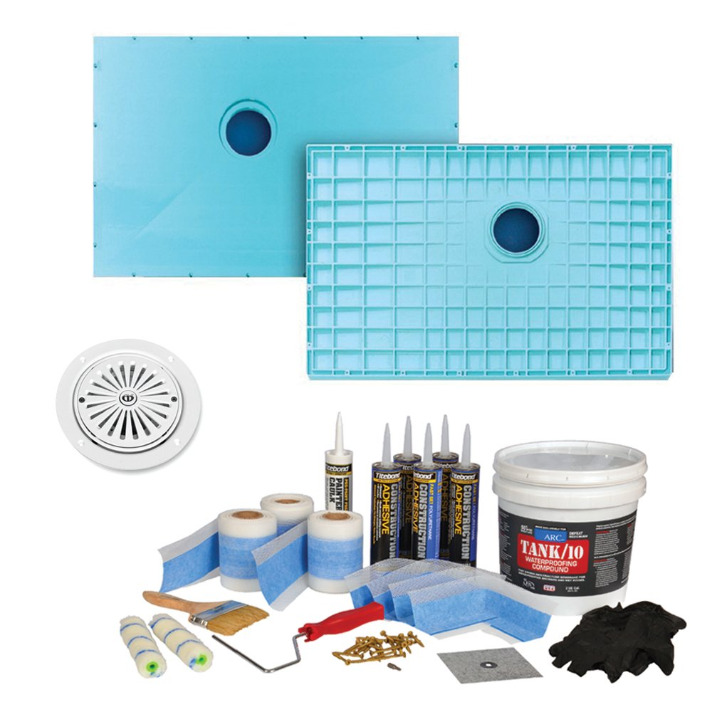 """durable service Transolid K4747C-PRE-VL 47-1/4"""" x 47-1/4"""" TrueDEK Classic Shower Base Kit with Premium Waterproofing Kit and Drain, White"""