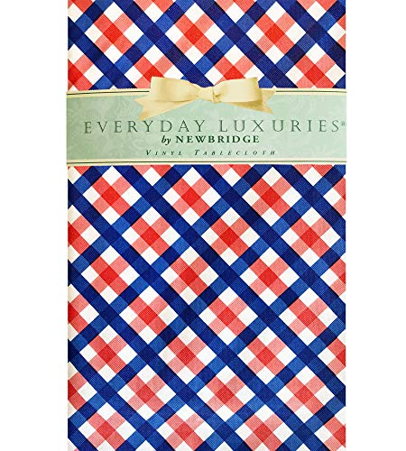 (Newbridge Easton Gingham Check Red, White and Blue Vinyl Flannel Backed Tablecloth - Patriotic Indoor/Outdoor BBQ, Picnic, Patio and Kitchen Tablecloth - 60 x 102)