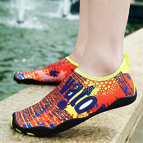 L-RUN Männer und Frauen Barfuß Mutifuntional Quick-Dry Wasser Sport Aqua Schuhe Orange