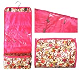 Hanging Cosmetic Travel Bag for Women (Style 2) Pink Owl Print Hanging Toiletry Bag Case, Bags Central