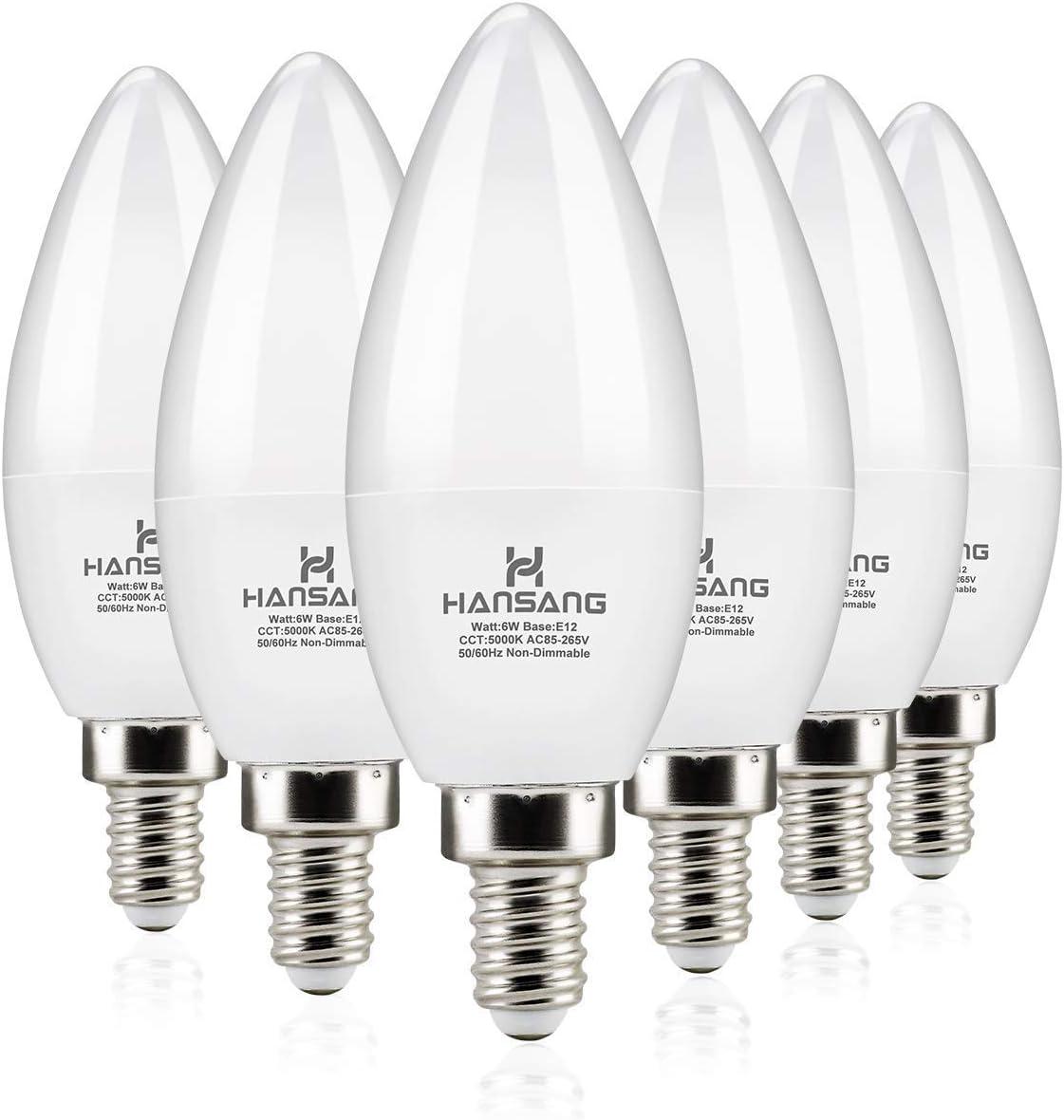 60Watt Equivalent 530 Lumens Daylight White 5000K Chandelier Bulbs Pack of 5 E12 LED Bulb Candelabra Light Bulbs 6W Non-dimmable Candelabra Base