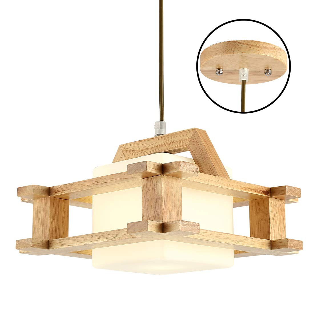 Wood Pendant Lamp Nordic Retro 1 Light Wood Pendant Lamp for Restaurant Bar Ceiling Light Fixture