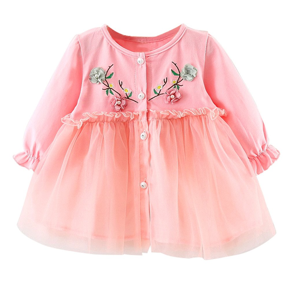 Bestow- Baby Cute Tutu Dresses Newborn Infant Flower Gauze Clothes for 0-24 Months Long Sleeve Party Princess Dresses