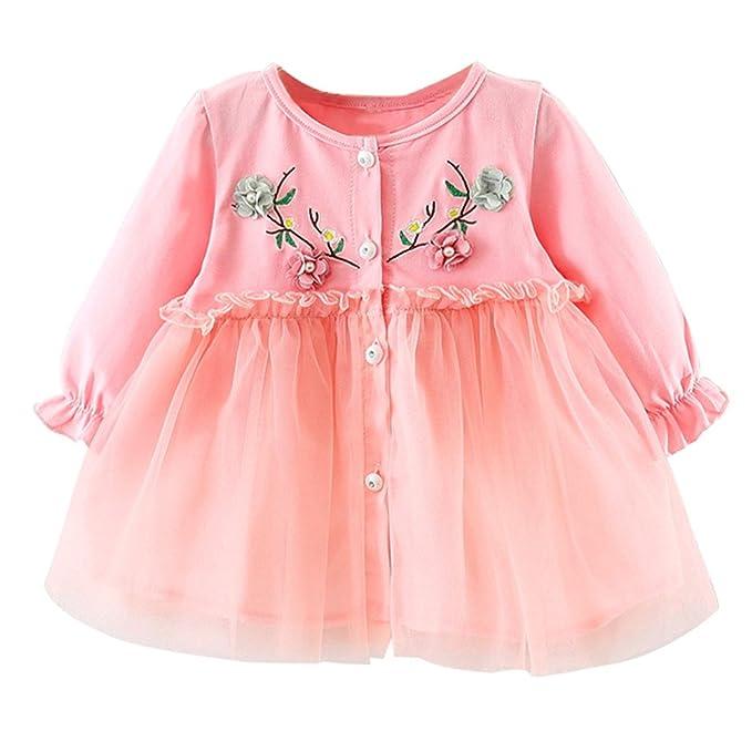 8ecf85a40e765 K-youth Vestidos para Niñas para Fiestas Ropa para Bebe Niña Recien Nacido  Invierno Floral Tutú Princesa Vestidos de Fiestas para Niñas Elegantes  Vestido ...