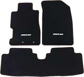 Floor Mat Compatible With 2001-2005 Honda Civic (Excludes Si), EM2 Logo Factory Fitment Front & Rear Nylon Car Floor Carpets Carpet Liner by IKON MOTORSPORTS, 2002 2003 2004