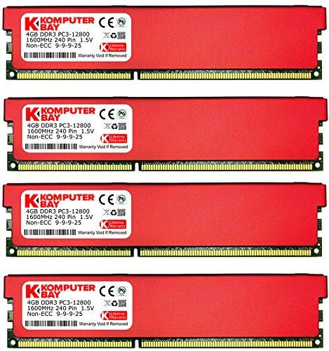 - Komputerbay 16GB (4 X 4GB) DDR3 DIMM (240 pin) 1600Mhz PC3 12800 16 GB KIT (9...