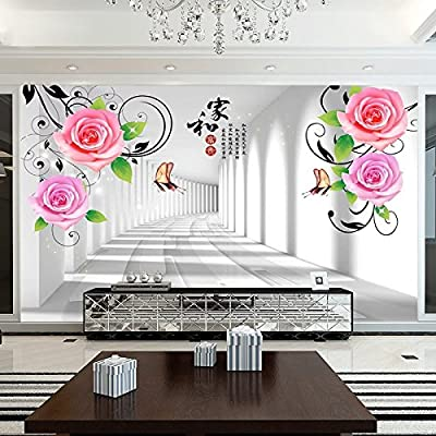 XLi-You 3D Rose And The Rich Tv Wall Living Room Restaurant Seamless Wall Cloth Paintings