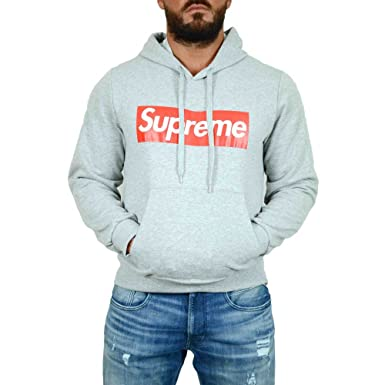 93dd9feaf9a4 Supreme Men s Hoodie Grey Bright Grey (RAL 7035) Large  Amazon.co.uk ...
