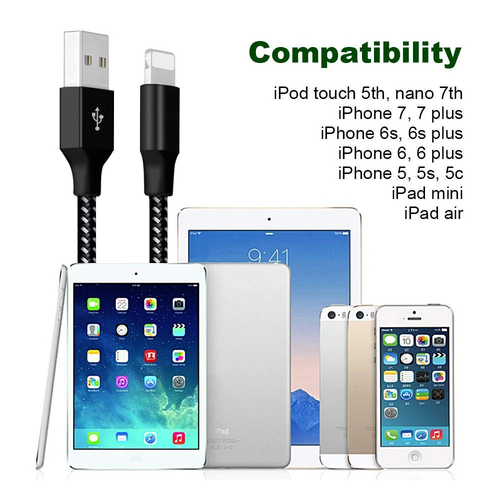 Taixmn MFi Certified Phone Charger Lighting Cable 4 Pack [3/6/6/10FT] Extra Long Nylon Braided USB Charging & Syncing Cord Compatible iPhone Xs/Max/XR/X/8/8Plus/7/7Plus/6S/6S Plus/SE/iPad/Nan More S08