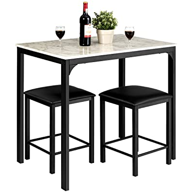 Buy Giantex 3 Pcs Dining Table And Chairs Set With Faux Marble Tabletop 2 Chairs Contemporary Dining Table Set For Home Or Hotel Dining Room Kitchen Or Bar White Black Online