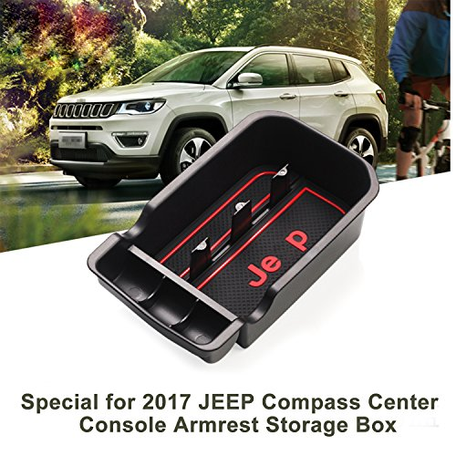 LFOTPPCar Center Console Armrest Box Glove Box Secondary Storage Tray for 2017 2018 Jeep Compass