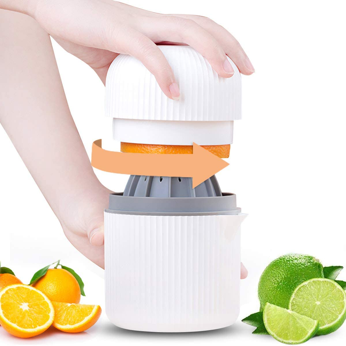 Citrus Juicer,GMISUN Lemon Orange Manual Hand Squeezer 2 in 1 Lid Rotation Hand Press Reamer with Strainer and Container (White)