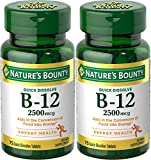 Natures Bounty Vitamin B-12, Quick Dissolve, 2500 mcg, Natural Cherry Flavor 75 ct (2 Pack)