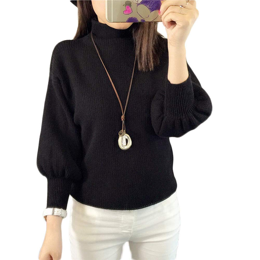 Quelife Half-High Collar Lanterns Sleeves Thin Sweater Loose Bat Shirt Pullover Sweater Women
