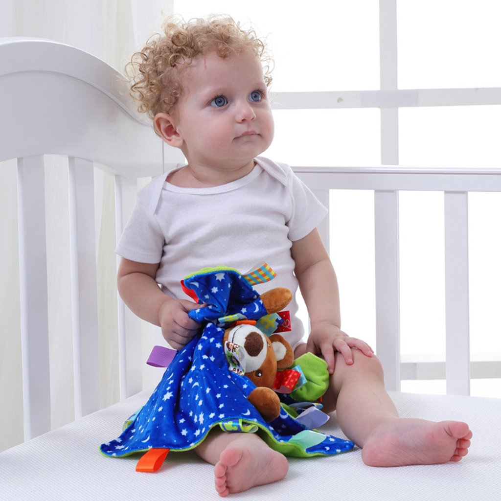 Elephant Baoblaze Baby Soft Comforter Taggy Taggie Tag Blanket Animals Security Blanket Boy Girl Gift as described
