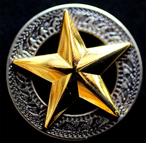 (Lot of 4 Texas Star Conchos Concho Horse Saddle Western Tack Bridle Golden CO255)