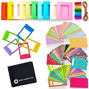 5 in 1 Colorful Bundle Kit Accessories for Fujifilm Instax Mini 9/8 Camera - Assorted Accessory Pack of Sticker Frames, Plastic Desk Frame, Hanging Clips with String