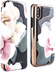 Ted Baker KNOWIT Mirror Folio Case for iPhone X/XS, Premium Folio Cover for