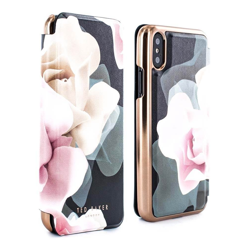 Ted Baker Official KNOWIT Mirror Folio Case for iPhone X, Premium Folio  Cover for Professional