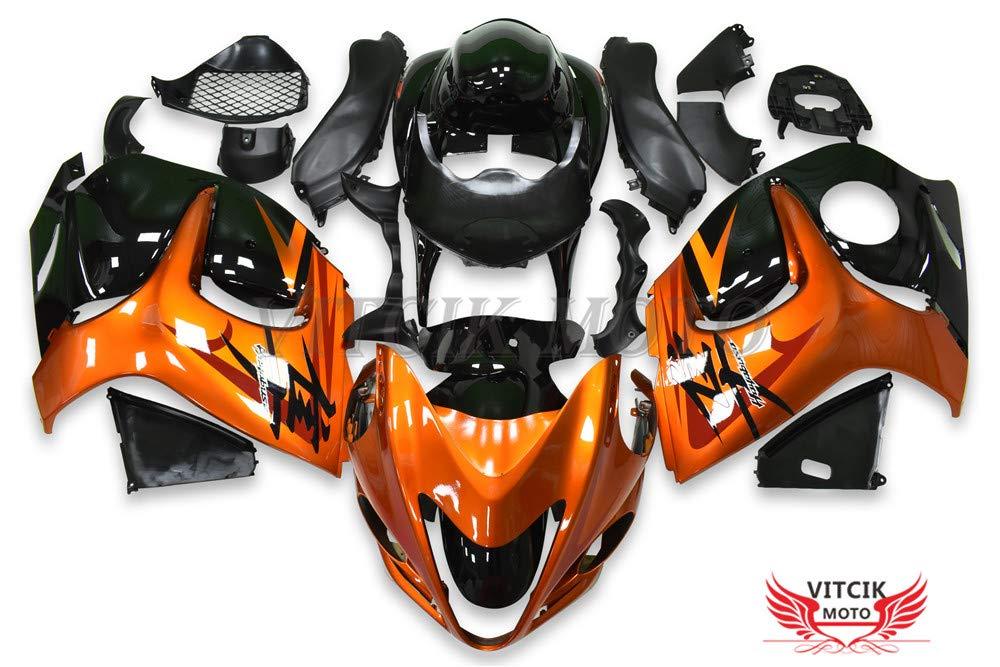 VITCIK (フェアリングキット 対応車種 スズキ Suzuki GSXR1300 GSX-R 1300 GSXR 1300 Hayabusa 2008-2015) プラスチックABS射出成型 完全なオートバイ車体 アフターマーケット車体フレーム 外装パーツセット(オレンジ色 & ブラック) A061   B07FZ5DDRH
